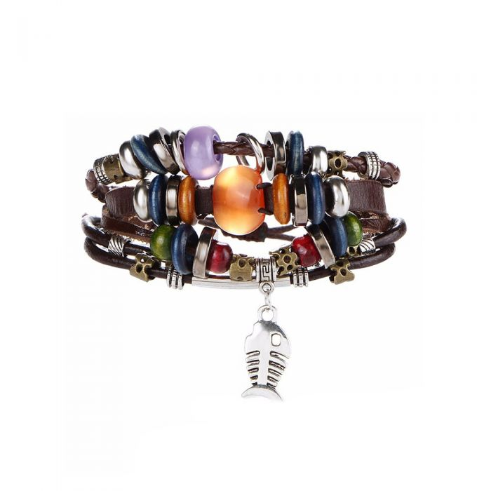 Image for Fish stainless steel and brown leather multi-strand bracelet
