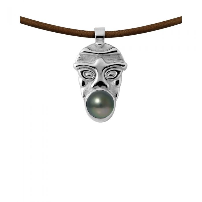 Image for Tahitian pearl tribal leather necklace