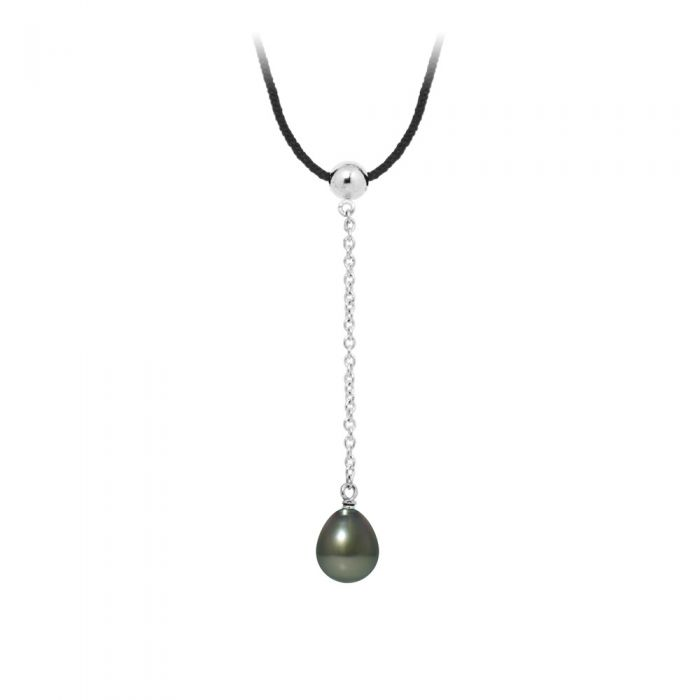 Image for Tahitian Pearl, Black Cotton Woman Necklace and 925 Sterling Silver