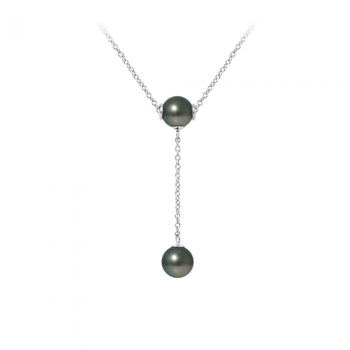 Image for 2 Tahitian Pearls and 925 Sterling Silver Woman Necklace