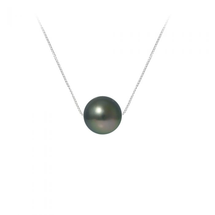 Image for Black Tahitian Pearl Necklace and Sterling Silver 925