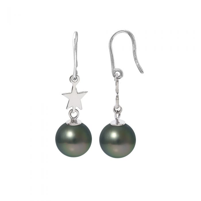 Image for Black Tahitian Pearls Star Dangling Earrings and Silver 925/1000