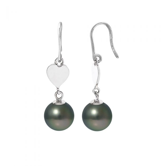 Image for Black Tahitian Pearls Heart Dangling Earrings and Silver 925/1000