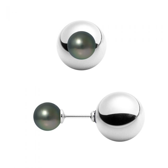 Image for Black Tahitian Pearls Earrings and 925 Silver