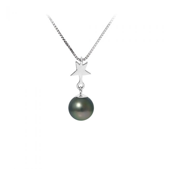 Image for Black Tahitian Pearl and Star Pendant Necklace and Sterling Silver 925