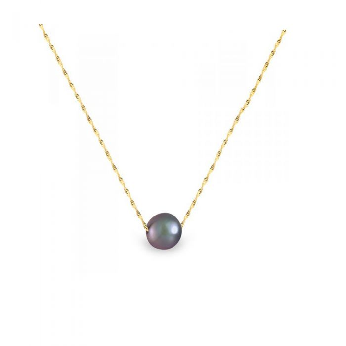 Image for Yellow gold black freshwater pearl singapour chain necklace