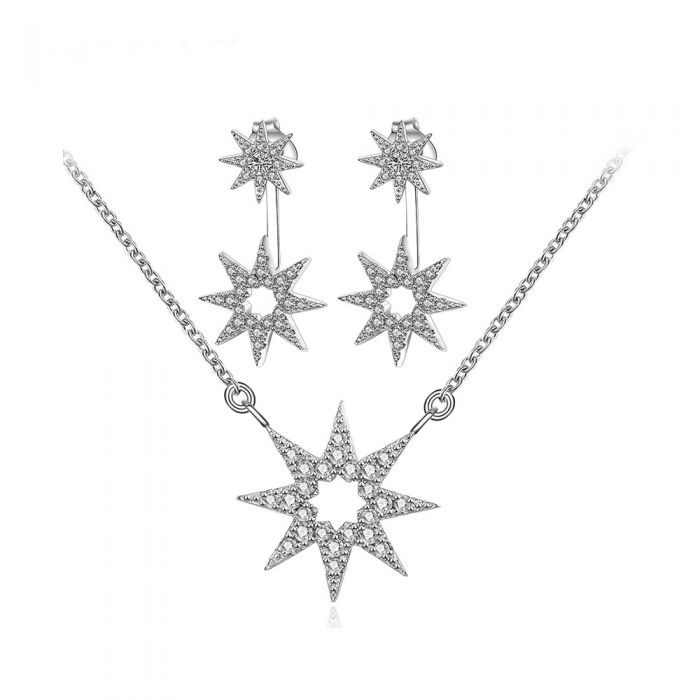 Image for Set : Women's Necklace and Earrings in Silver Plated, Star in Cubic Zirconia White