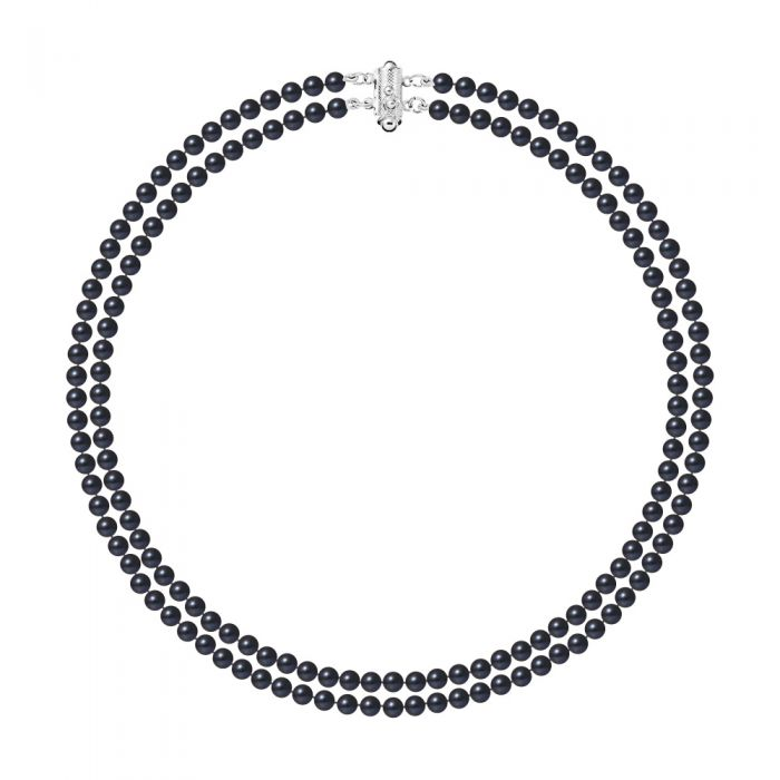 Image for 2 Rows of Black Freshwater Cultured Pearls Necklace