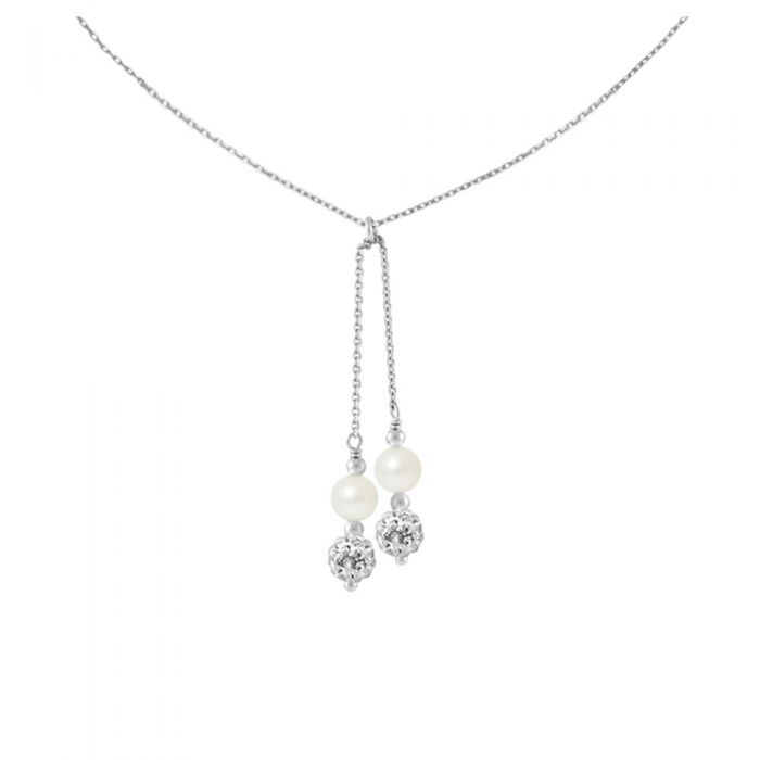 Image for 2 White Crystal and Freshwater Pearls, and 925/1000 Sterling Silver Women Necklace