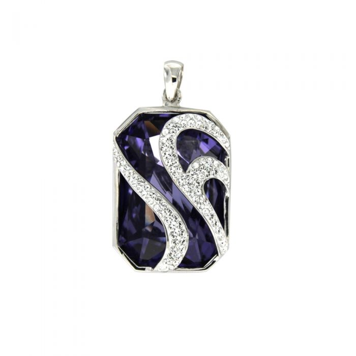 Image for Swarovski - Purple Swarovski Elements Crystal Pendant and 925/1000 Silver Mounting