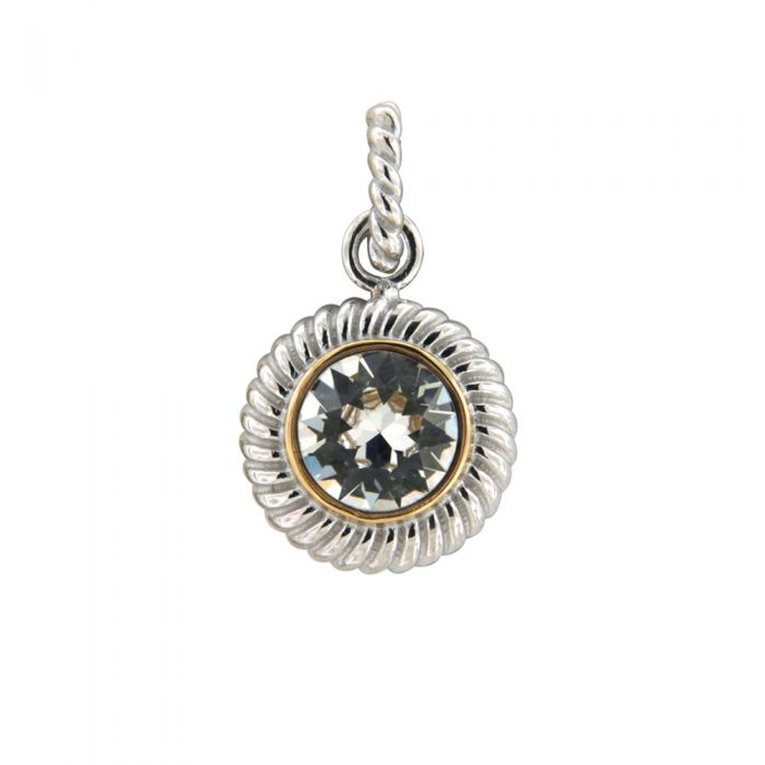 Image for Swarovski - White Swarovski Elements Crystal Circle Pendant and 925/1000 Silver Mounting