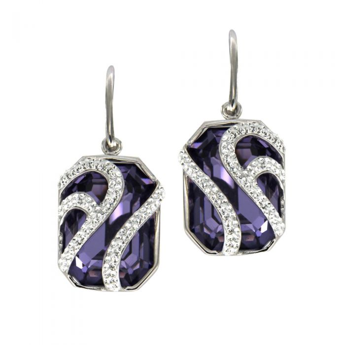 Image for Swarovski - Purple Swarovski Elements Crystal Dangling Earrings and 925/1000 Silver Mounting