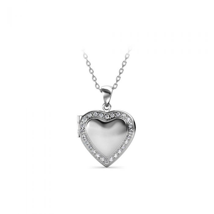 Image for Swarovski - White Crystal from Swarovski Heart Woman Medaillon Pendant Rhodium plated