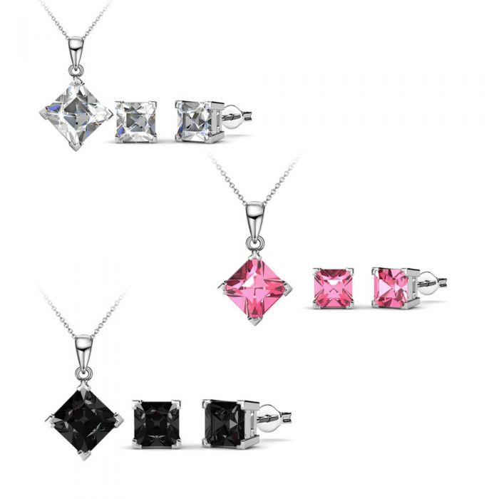 Image for Swarovski - 3 Pendants and Earrings Set Women and Swarovski Elements Crystal