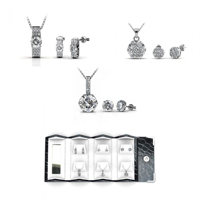 Image for Travel Box Pendants Earrings Box Women Rhodium Plated and Swarovski Elements Crystal