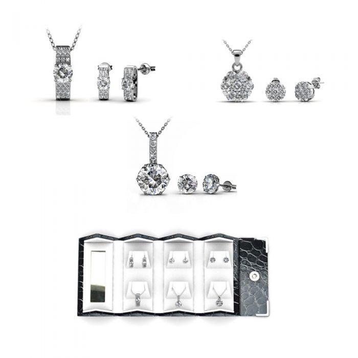 Image for Swarovski - Travel Box Pendants Earrings Box Women Rhodium Plated and Swarovski Elements Crystal