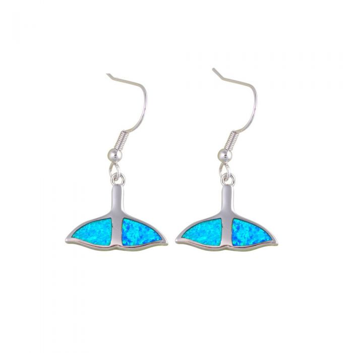 Image for Blue Opal Whale Tail Dangling Hooks Women Earrings and Silver Plated