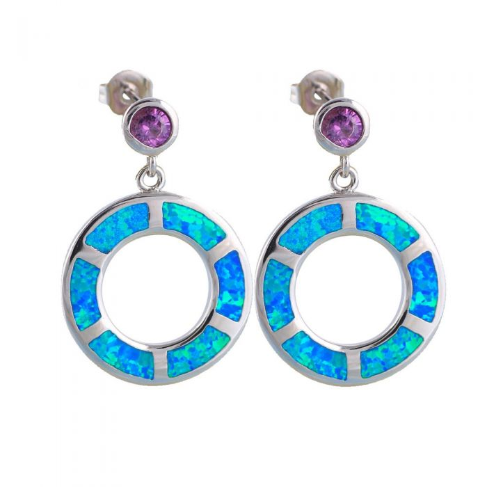 Image for Blue Opal and Purple Crystal Earrings and Silver Plated