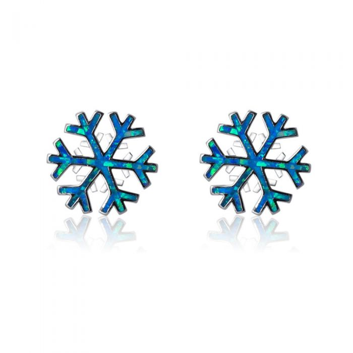 Image for Blue Opal Snowflake Women earrings and Silver Plated