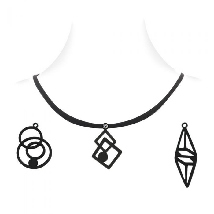 Image for Necklace with 3 pendants Black Silicone Gum Women Box