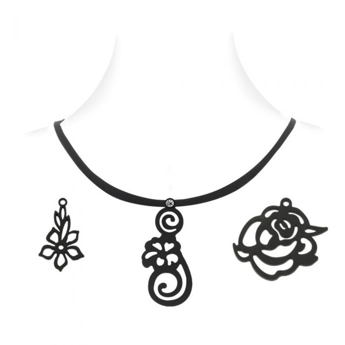 Image for Necklace with 3 pendants Black Silicone Gum Floral Women Set-Box