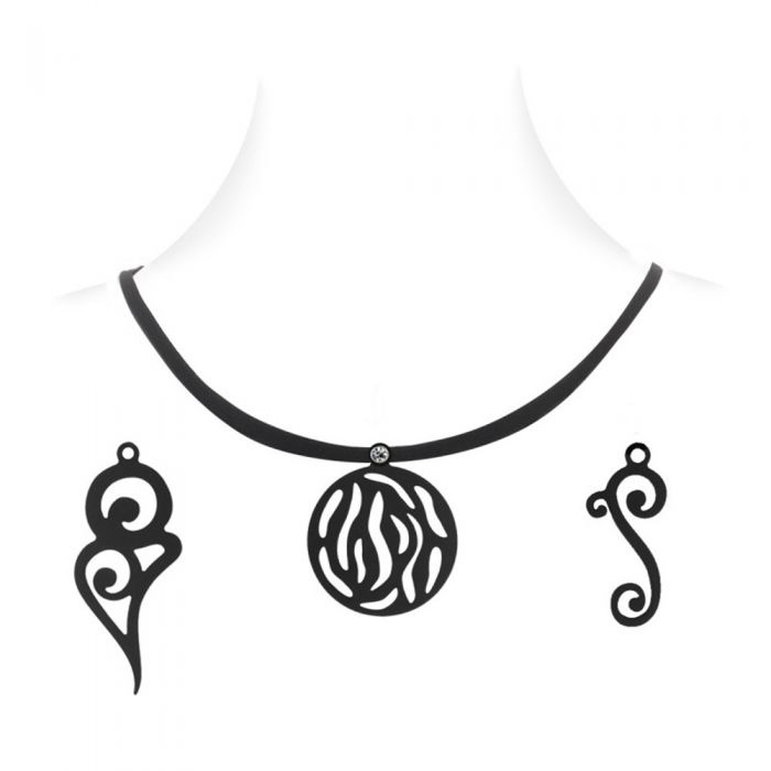 Image for Necklace with 3 pendants Black Silicone Gum Women Tribal Box