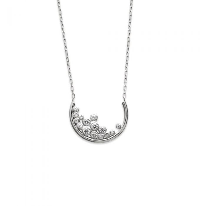 Image for White Zirconium Oxide and 925 Sterling Silver Women Necklace