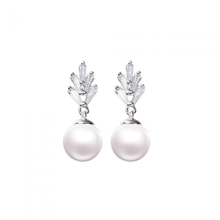 Image for Earrings Dangling Wowen White Pearl and Cubic Zirconia