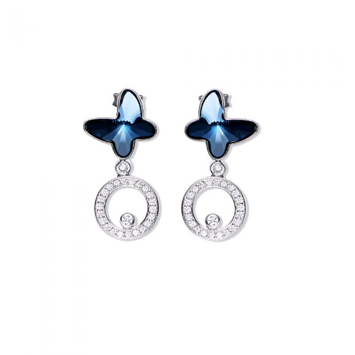 Image for Swarovski - Buterflies Dangling Earrings Women with Blue Swarovski Crystal Elements
