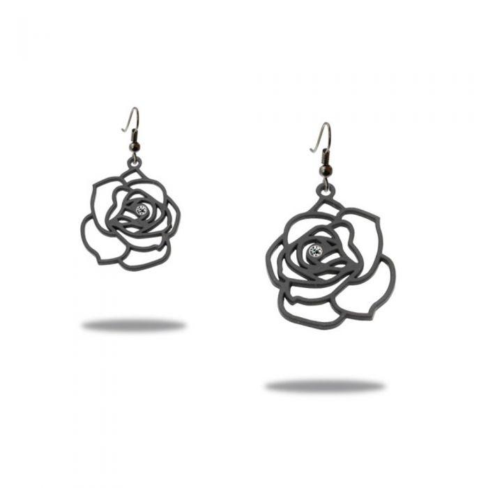Image for Dangling Hooks Earrings Women Rose Black Silicone Gum