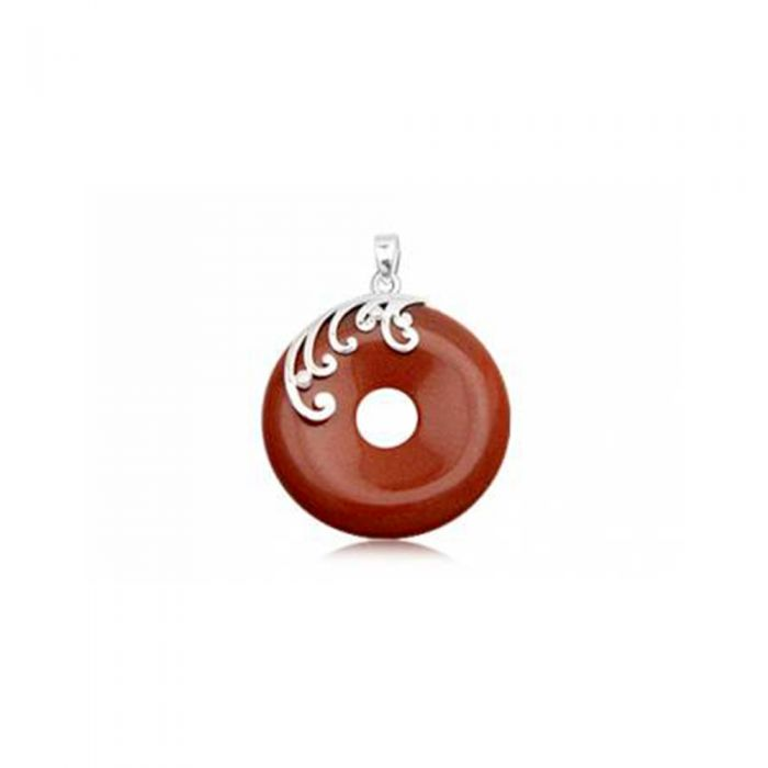 Image for Round Pendant in Brown Sandstone and 925 Silver