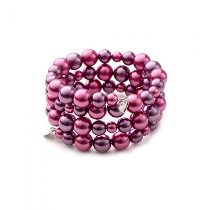 Image for Pink Pearls and Rhodium Plated 3 Rows Bracelet