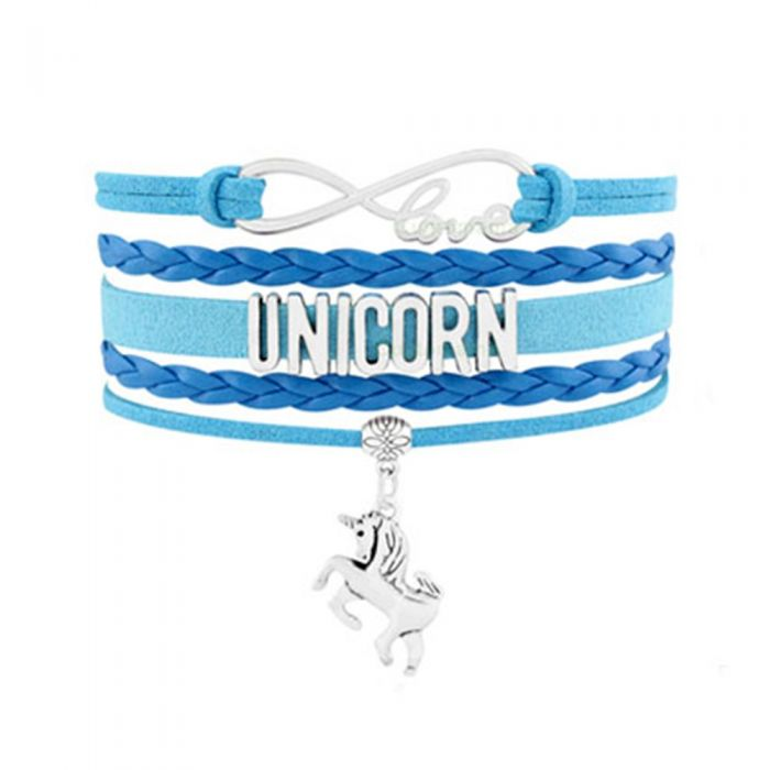 Image for Women Love and Unicorn Multi Row Bracelet in Swedish and Blue Leather and Silver Metal