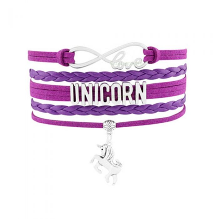Image for Women Love and Unicorn Multi Row Bracelet in Swedish and Purple Leather and Silver Metal