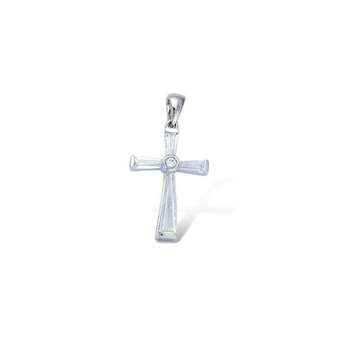 Image for Zirconium and 925/1000 Silver Women or Men Cross Pendant
