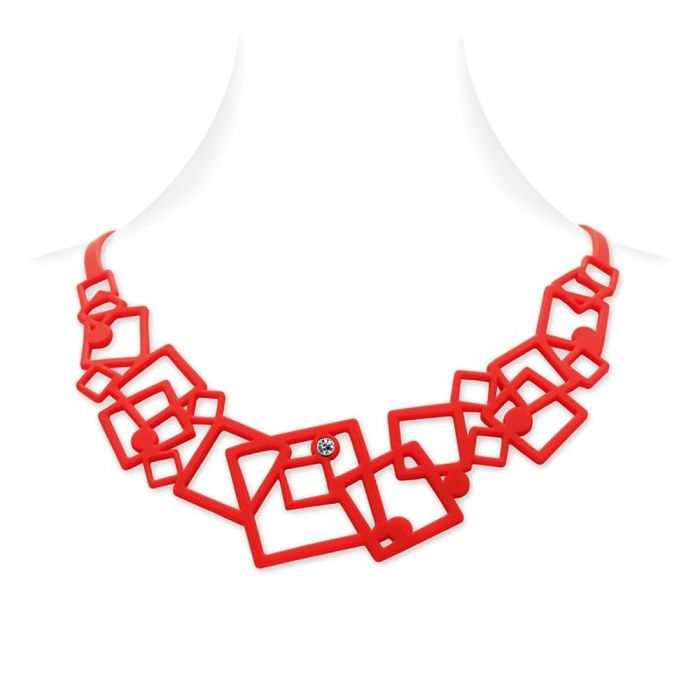 Image for Red Silicone Gum Geometric Necklace Effect Tatto
