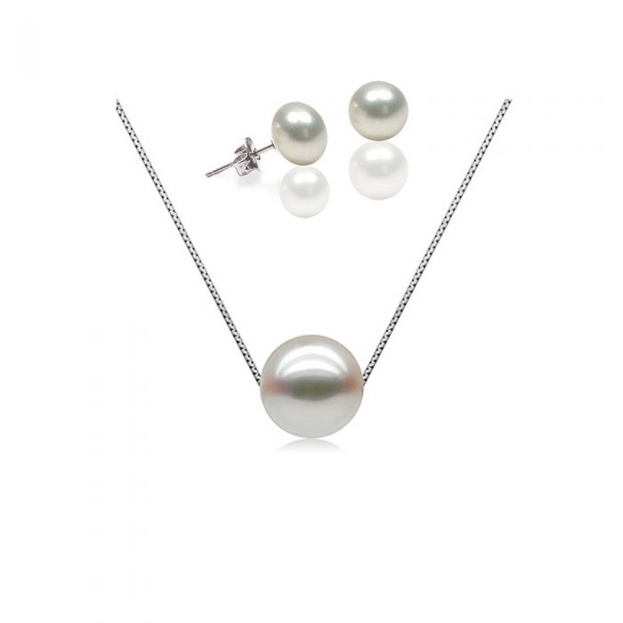 Image for Set : White Freshwater Pearls Necklace and Earrings 925 Silver Mounting