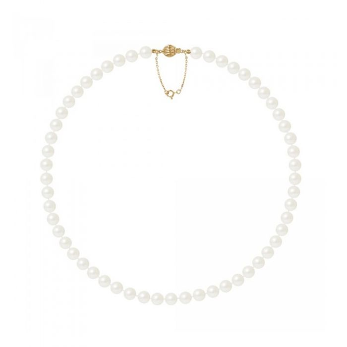 Image for 7.5-8 mm and AA White Freshwater Pearl Women Necklace and 750/1000 Yellow Gold Clasp