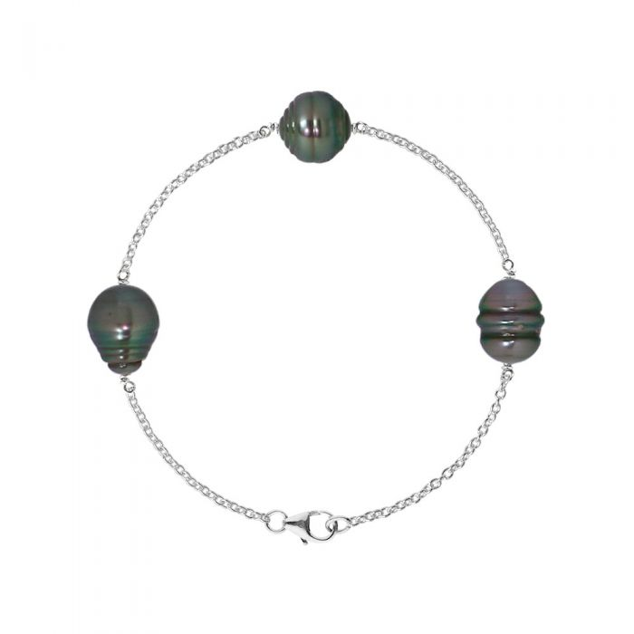 Image for Bracelet 3 Rimmed Tahitian Pearls of 9mm and Silver 925/1000