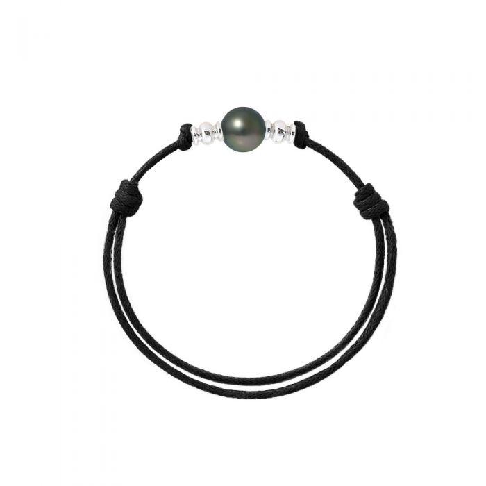 Image for 9mm Tahitian Pearl Bracelet, in Sterling Silver 925/1000 and Black Waxed Cotton