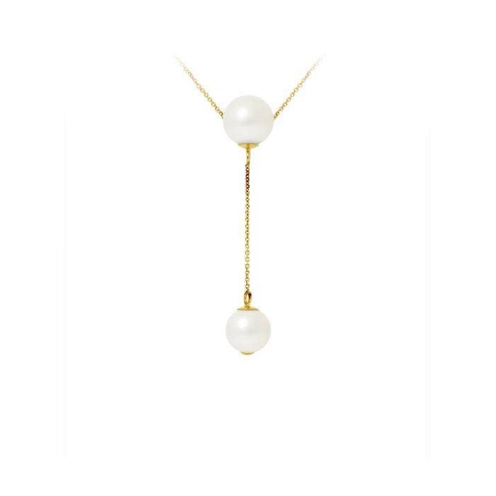 Image for 2 White Freshwater Pearls Choker Necklace and 750/1000 Yellow Gold