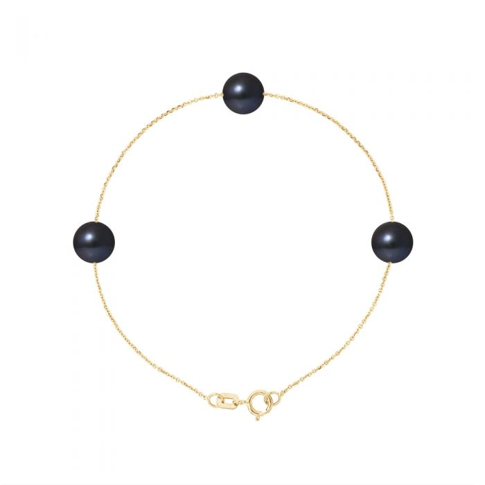 Image for 3 AA Black Freshwater Pearls Bracelet and 750/1000 Yellow Gold