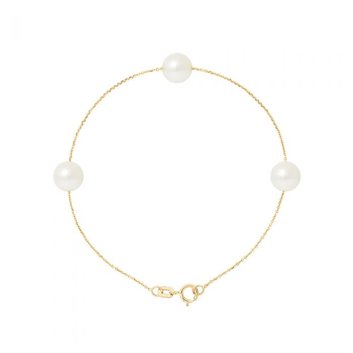 Image for 3 AA White Freshwater Pearls Bracelet and 750/1000 Yellow Gold