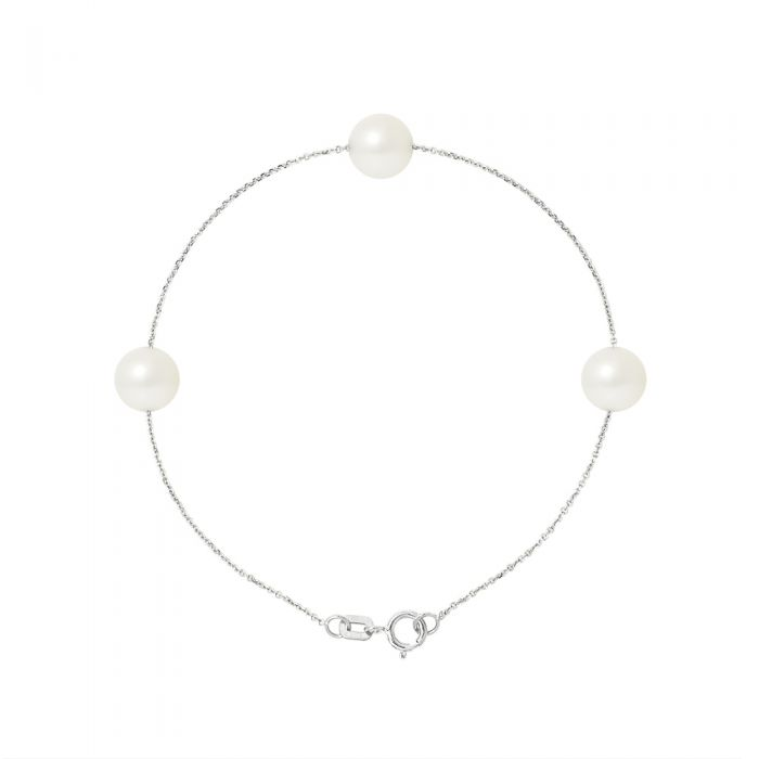 Image for 3 AA White Freshwater Pearls Bracelet and 750/1000 White Gold