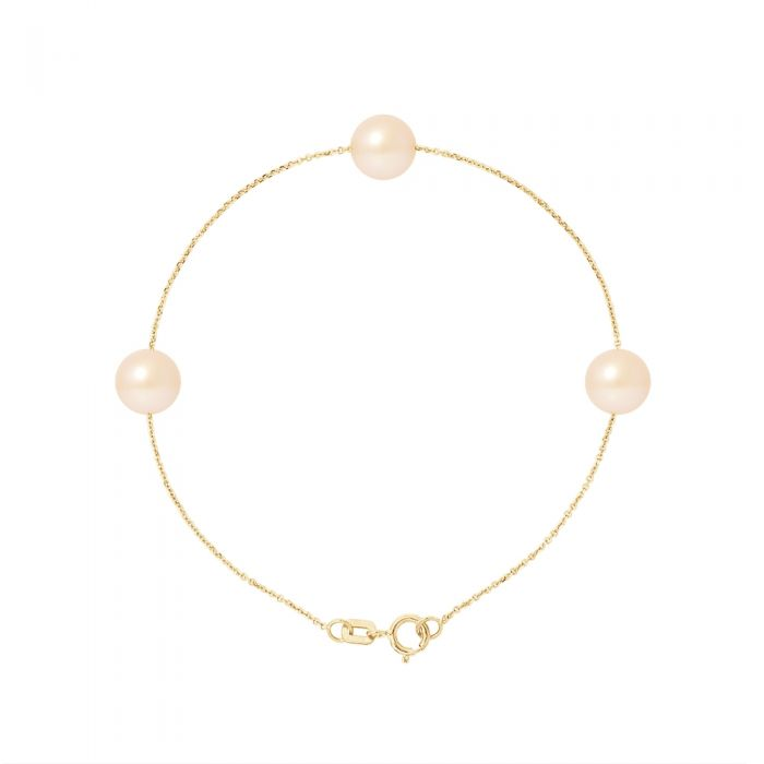 Image for 3 AA Natural Pink Freshwater Pearls Bracelet and 750/1000 Yellow Gold