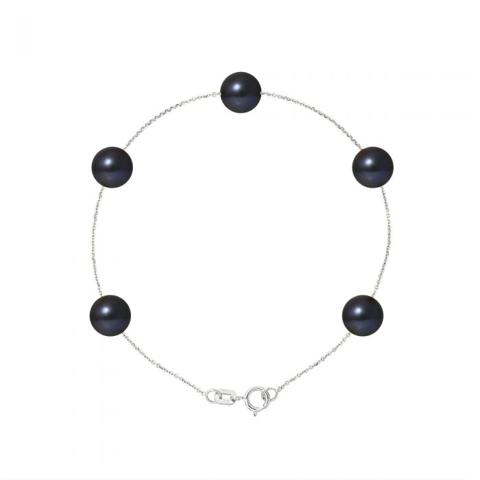 Image for 5 AA Black Freshwater Pearls Bracelet and 750/1000 White Gold