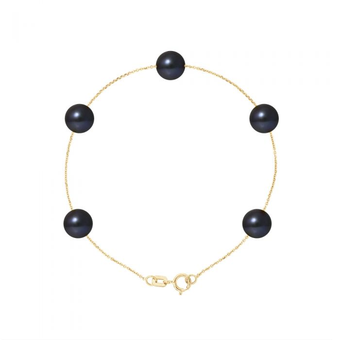 Image for 5 AA Black Freshwater Pearls Bracelet and 750/1000 Yellow Gold