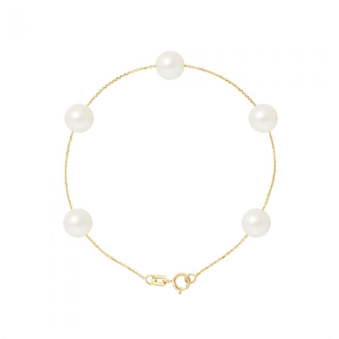 Image for 5 AA White Freshwater Pearls Bracelet and 750/1000 Yellow Gold