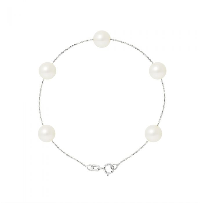 Image for 5 AA White Freshwater Pearls Bracelet and 750/1000 White Gold
