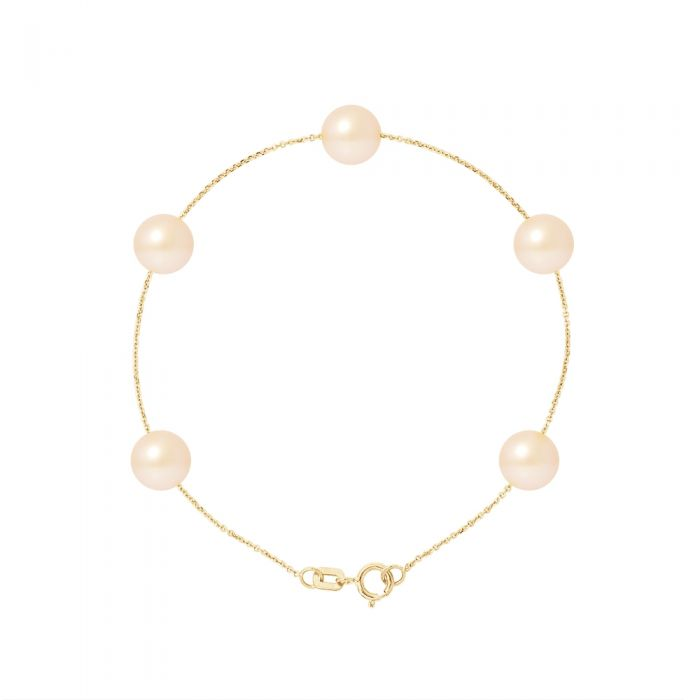Image for 5 AA Natural Pink Freshwater Pearls Bracelet and 750/1000 Yellow Gold
